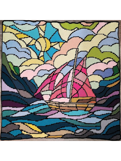 Stained Glass Sailboat Crochet Pattern