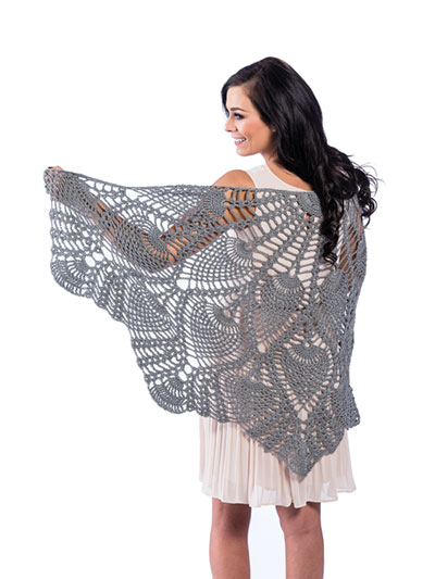 Half Circle Pineapple Shawl Crochet Pattern