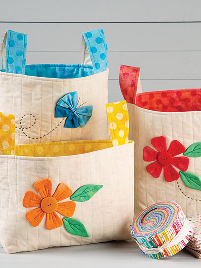 Floral Fabric Baskets Sewing Pattern