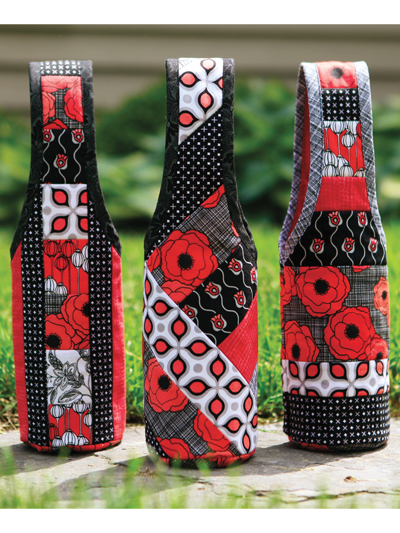 Quilt As You Go Wine Totes Pattern with Pre-Printed Batting