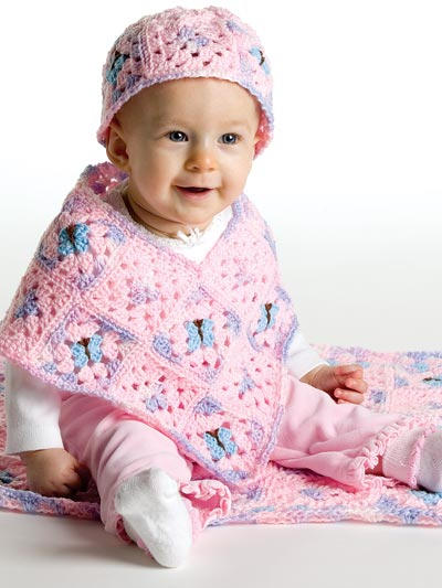Baby Kids Crochet Accessories Patterns Butterfly Baby Poncho