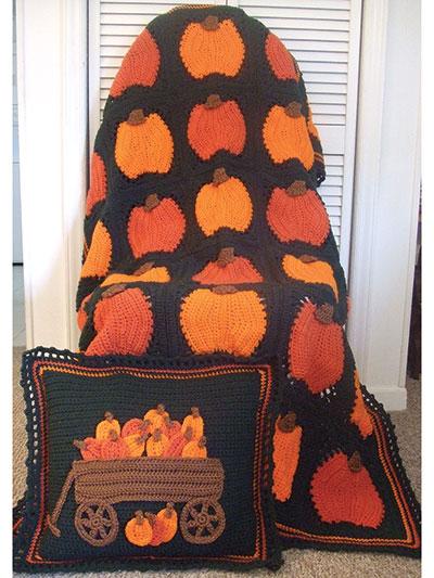 Pumpkins Galore Afghan & Pillow Crochet Pattern Pack