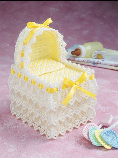 Plastic Canvas Patterns - Baby Bassinet Tissue Box Cover & Photo Frame