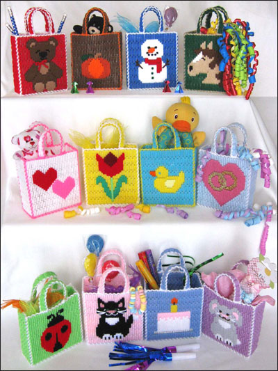 Plastic Canvas Gift Designs 12 Tiny Party Totes For All Occasions