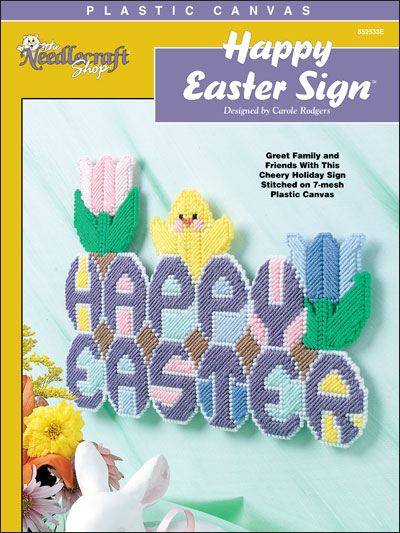 Happy Easter Sign in Plastic Canvas