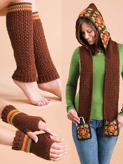 New Crochet Patterns Granny Square Scoodie Set