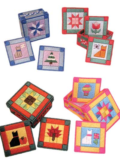 Easy Plastic Canvas Patterns Quilted Kitty Coaster Sets Delectable Easy Plastic Canvas Patterns