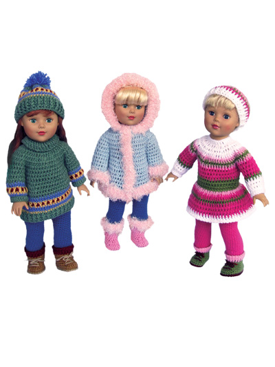 Winter Fun Crochet Pattern - Annie's Exclusive Patterns! - Paid and Free Crochet Patterns for 18-inch Dolls Like the American Girl Doll - Winter Fun Crochet Pattern - Annie's Exclusive Patterns!