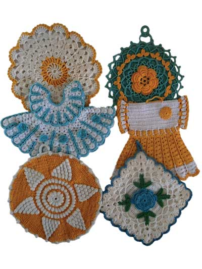 Vintage Blue/Yellow Pot Holders Crochet Pattern Pack