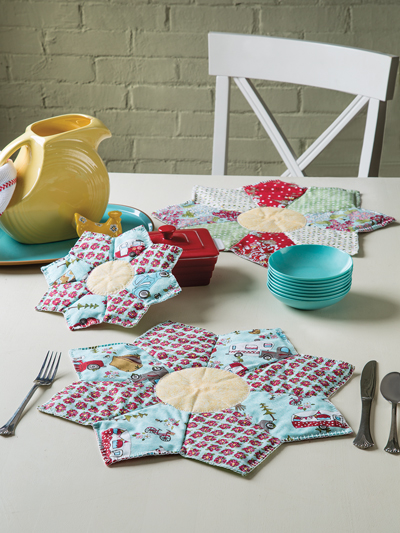 New Sewing Patterns - Star Flower Place Mats & Pot Holders Sewing ...