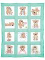 """Teddy Bears 9"""" Prestamped Nursery Quilt Blocks"""