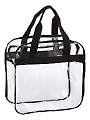 """Clear Plastic Zip Top Tote Bag with Black Straps 12"""" x 12"""""""