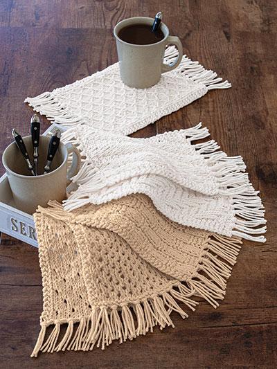 ANNIE'S SIGNATURE DESIGNS: Rustic Knit Mug Rugs Pattern