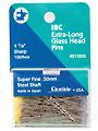 "Extra-Long Glass Head Pins Super Fine Steel - 1 7/8"""