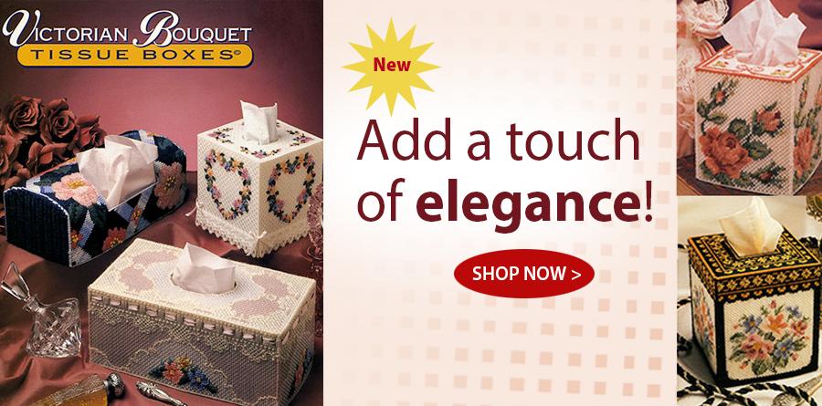AP87W52 Victorian Bouquet Tissue Boxes Plastic Canvas Pattern