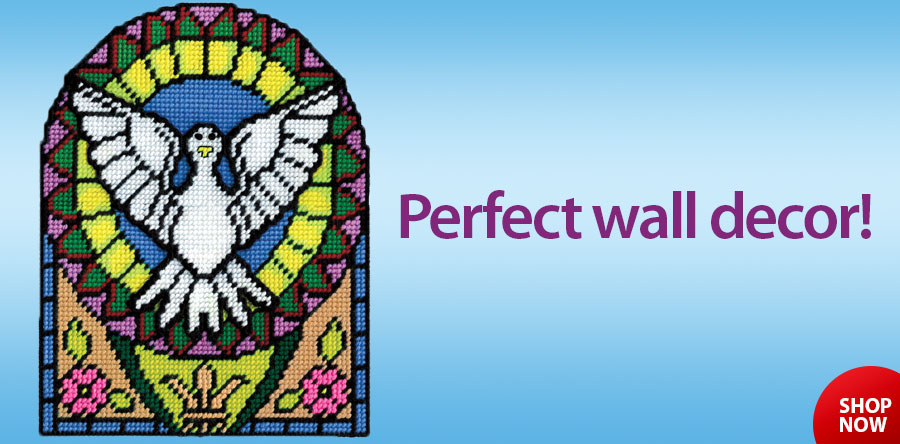 700004 Stained Glass Dove Plastic Canvas Kit