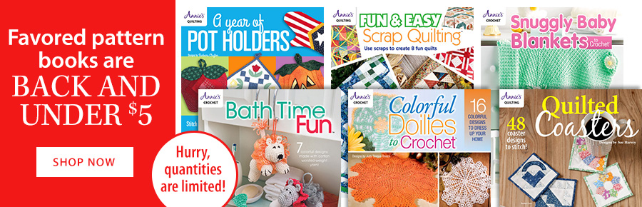 Favored pattern books are BACK AND UNDER $5
