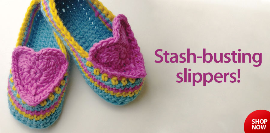 RAC2455 Heart & Sole Slippers Crochet Pattern