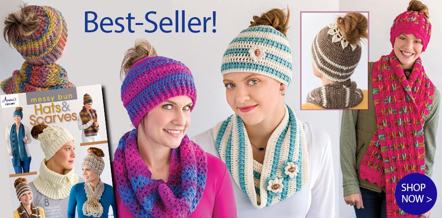 871746 Mesy Bun Hates & Scarves Crochet Pattern Book
