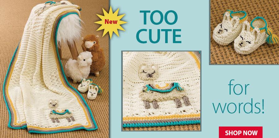 YC04775 Lllama Baby Blanket & Slippers Crochet Pattern