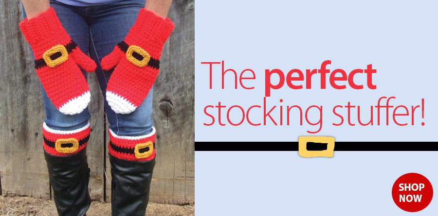 RAC2380 Santa Mittens & Boot Cuffs Crochet Pattern