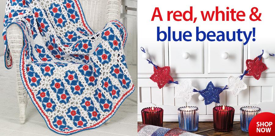 YC05050 Patriotic Afghan & Star Swag Crochet Pattern