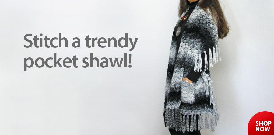 RAC2580 Soapstone Pocket Shawl Crochet Pattern