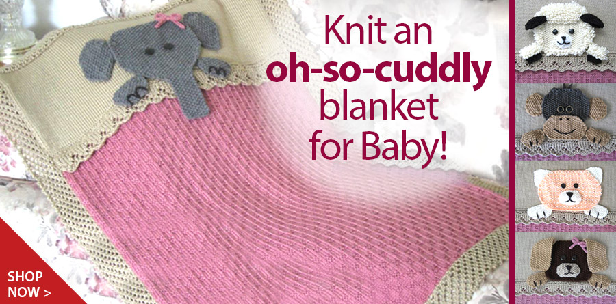 RYK1062 Who's Sleeping in My Bed Crib Blanket Knit Pattern