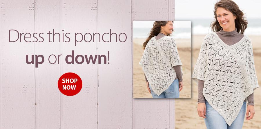 YK01305 Leaf Lace Poncho Knit Pattern