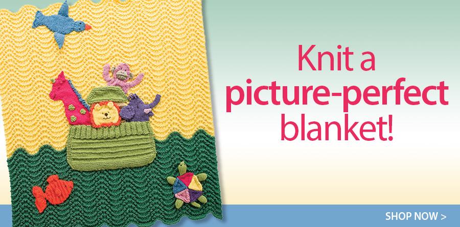 YK01085 Noah's Ark Afghan Knit Pattern