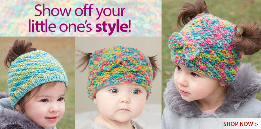 Y886248 Messy Bun & Pigtail Knit Hat