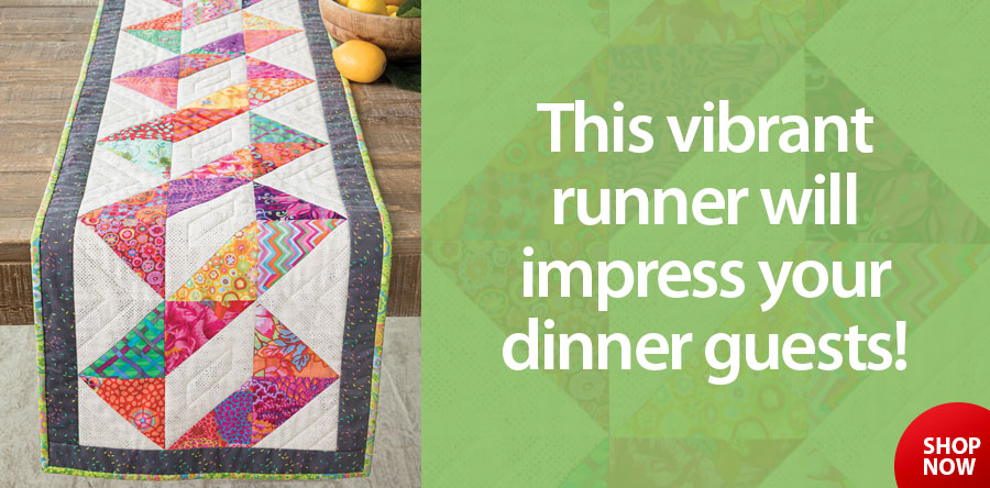 A886594 EXCLUSIVELY ANNIE'S QUILT DESIGNS: Twisted Table Runner Quilt Pattern