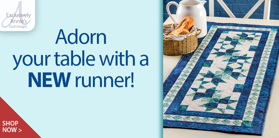 Y886315 EXCLUSIVELY ANNIE'S QUILT DESIGNS: Wave Runner Table Runner Pattern