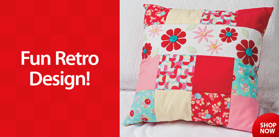 AS00444 Retro Flower Patch Pillow Sewing Pattern