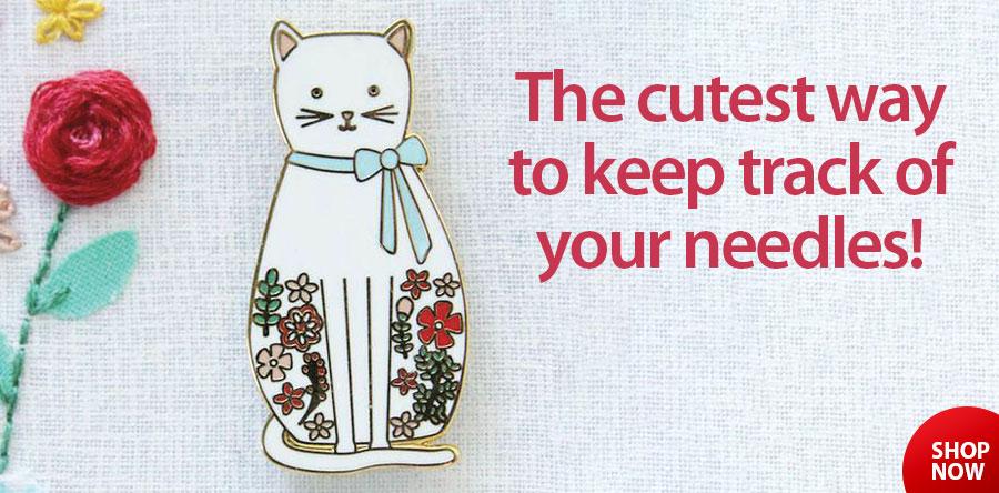 148035 Floral Cat Needle Minder