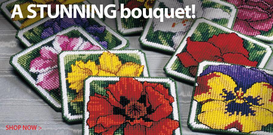 841602 Plastic Canvas Flower Coasters