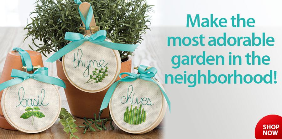 AX00625 Herb Garden Markers Cross Stitch Pattern