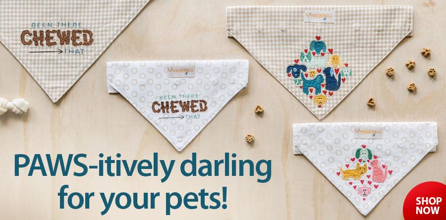 Playful Pet Kerchiefs Machine Embroidery CD Pattern