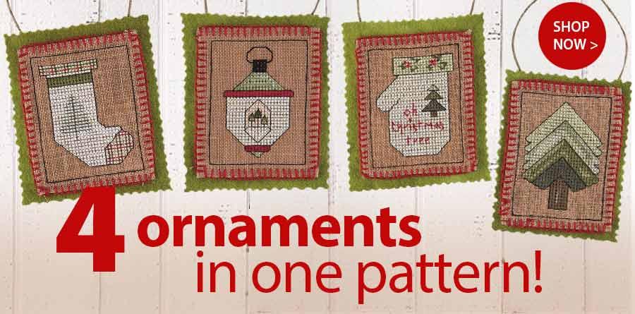 AX00362 Quartet of Country Ornaments Cross Stitch Pattern