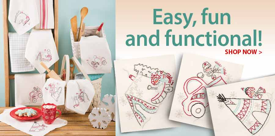 421724 Winter Glamping Embroidery Towels Pattern