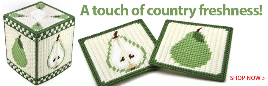 RAP0333 Country Pears Tissue Cover and Coasters