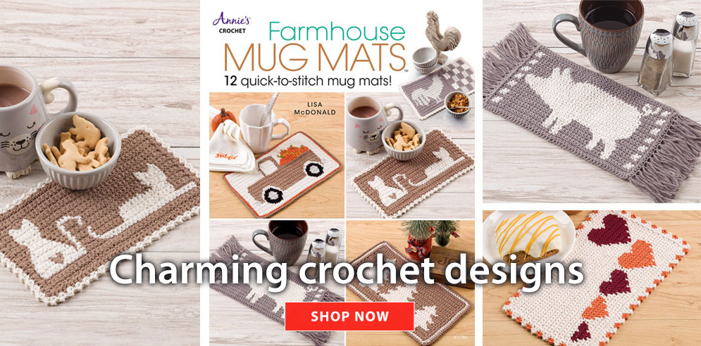 Farmhouse mug mats - 12 charming quick-to-stitch mug mat designs! - SHOP NOW