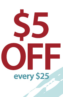 $5 off every $25 (5off25)