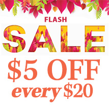 $5 off every $20 (5FIVE5)