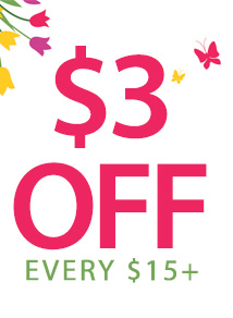 $3 off $15 THREE15