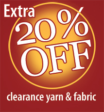 May Clearance, 20% off sale yarn fabric