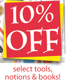10% off tools, notions, bks (TENTOOL)