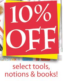 10% off tools, notions, bks (TENTOOL)