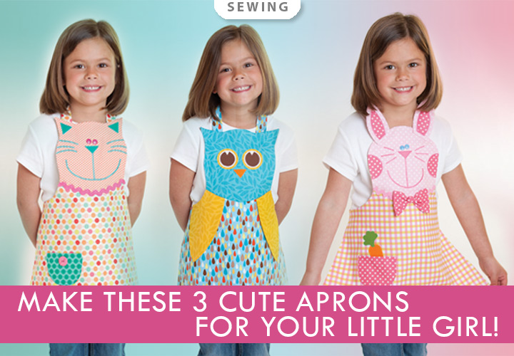 Fun Friends Child Apron Sewing Pattern -- Make these 3 cute aprons for your little girl!