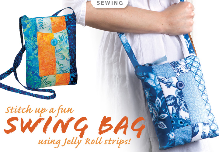 Sonoma Swing Bag Sewing Pattern or Fabric Kit -- Stitch up a fun swing bag using jelly roll strips!